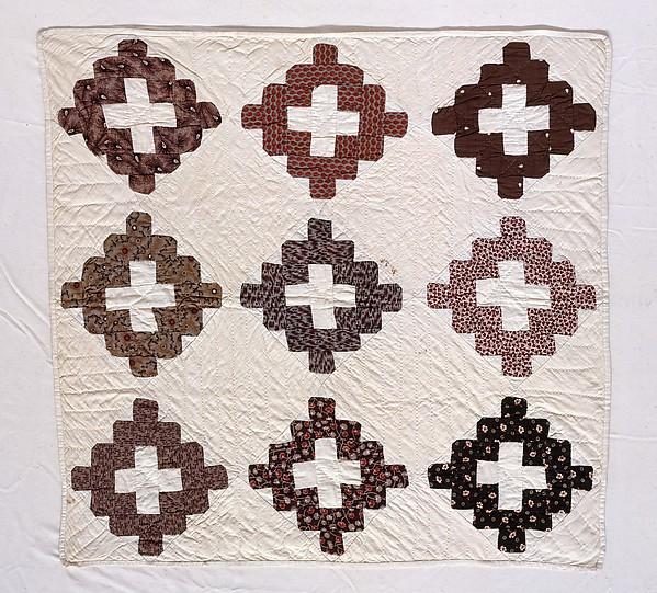 Doll Quilt, Chimney Sweep pattern, Ella Mygatt Whittlesey (born ca. 1845), Cotton, American