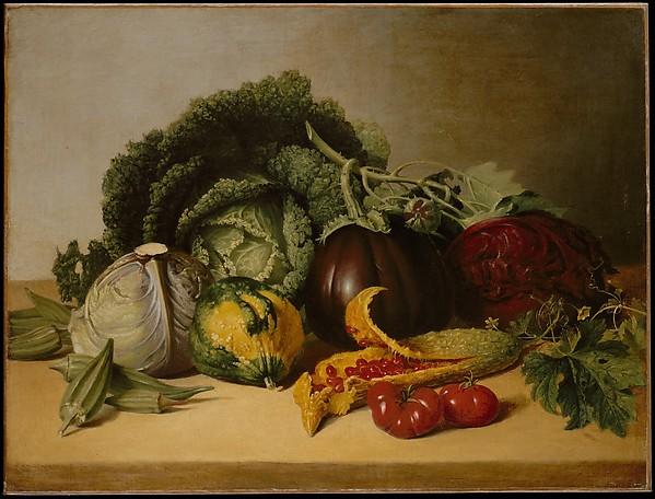 Still Life: Balsam Apple and Vegetables, James Peale (American, Chestertown, Maryland 1749–1831 Philadelphia, Pennsylvania), Oil on canvas, American