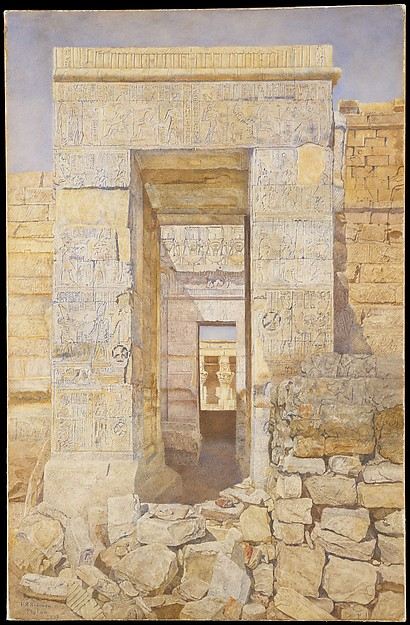 East Entrance, Room of Tiberius, Temple of Isis, Philae, Henry Roderick Newman (1843–1917), Watercolor and graphite on off-white wove paper, laid down on wove paper glued to a wooden strainer, American