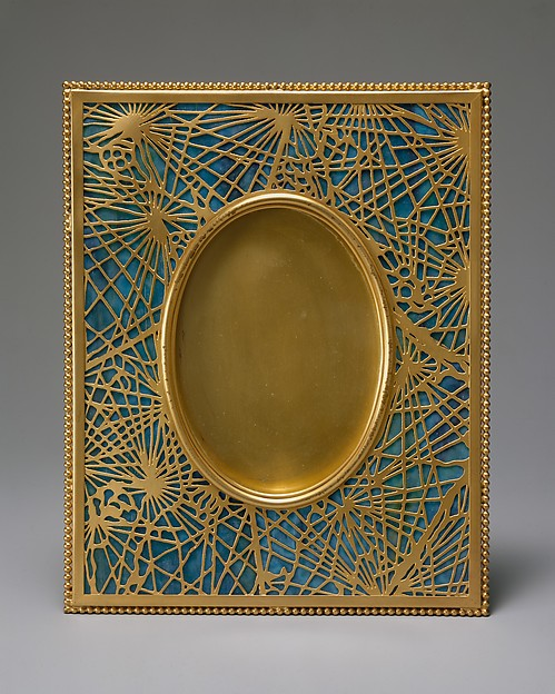 Frame, Designed by Louis Comfort Tiffany (American, New York 1848–1933 New York), Gilt bronze, Favrile glass, American