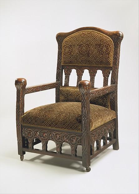 Armchair, Louis Comfort Tiffany (American, New York 1848–1933 New York), Oak, silk velvet, American