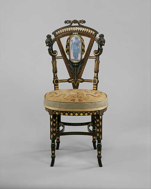 Side Chair, Attributed to Pottier and Stymus Manufacturing Company (active ca. 1859–1910), Walnut, mahogany, rosewood, cedar, American