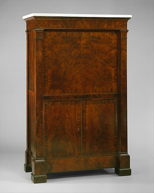 Secretary Abattant, Possibly from the Workshop of Duncan Phyfe (1770–1854), Mahogany, mahogany veneer, gilt brass, mirror glass, marble, ivory with white pine, mahogany, yellow poplar, American
