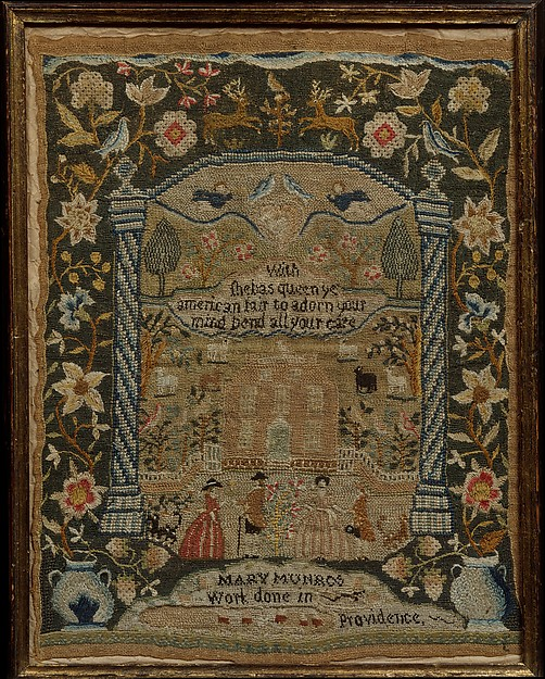 Embroidered Sampler, Mary Munro (born 1776), Embroidered silk on linen, American