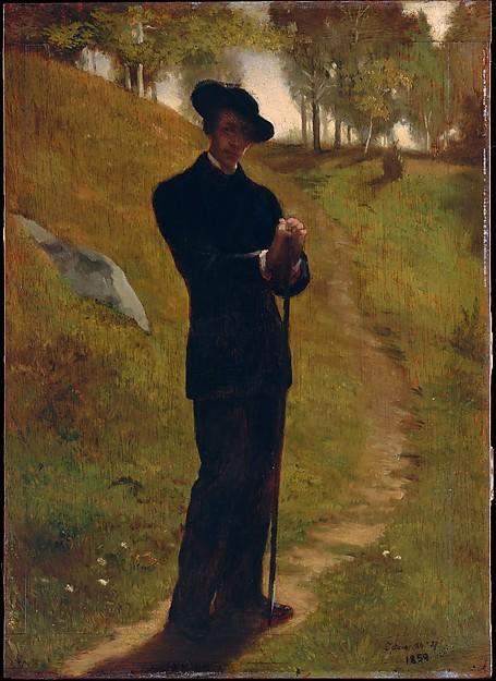 Portrait of the Painter, John La Farge (American, New York 1835–1910 Providence, Rhode Island), Oil on wood panel, American