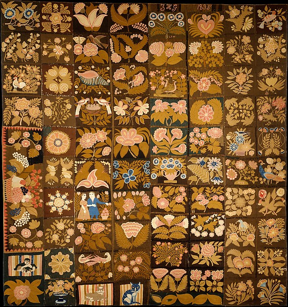Embroidered Carpet, Zeruah H. Guernsey Caswell (1805–ca. 1895), Wool, embroidered in chain-stitch, American