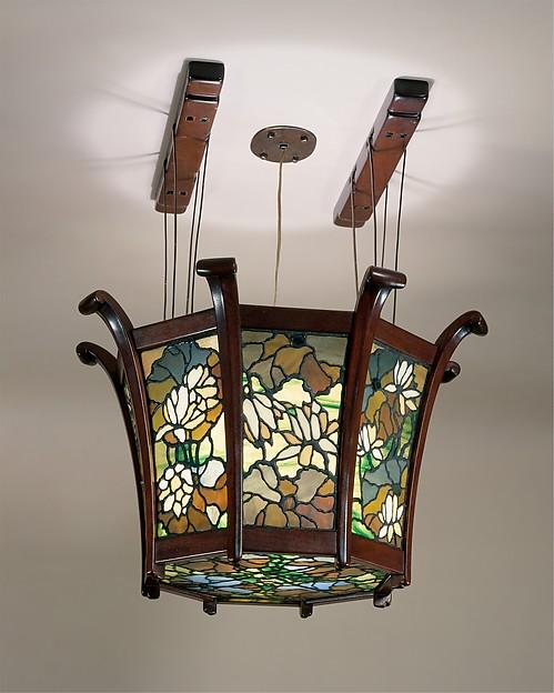 Chandelier, Greene and Greene (1894–1916), Mahogany, ebony, and leaded glass, American