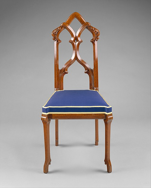 Side Chair, Designed by Alexander Jackson Davis (American, New York 1803–1892 West Orange, New Jersey), Black walnut; replacement underupholstery and showcover, American