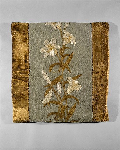 Pillow cover, Candace Wheeler (American, Delhi, New York 1827–1923 New York), Wool twill embroidered with wool and silk thread, silk velvet border, American
