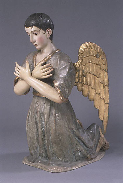 Kneeling angel (one of pair), Polychromed and gilded wood, stiffened polychromed cloth; hair and glass, Guatemalan