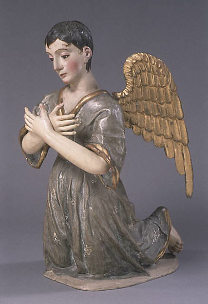 Kneeling angel (one of pair), Polychromed and gilded wood, stiffened polychromed cloth; hair and glass., Guatemalan