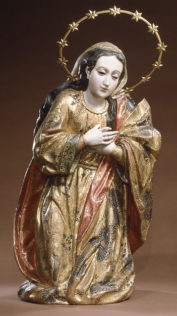 Mary (from a nativity), Wood, polychromed and gilded; silver-gilt; glass, Guatemalan
