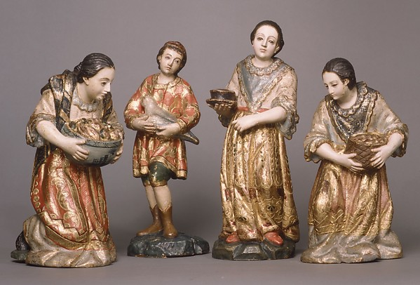 Kneeling woman with a bowl (from a nativity), Wood, polychromed and gilded, Guatemalan