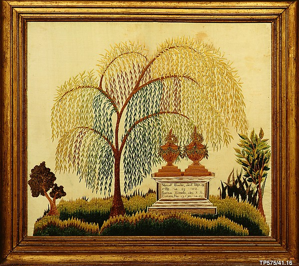 Memorial to Metcalf and Samuel Bowler, Miss Balch's Boarding and Day School (Providence, Rhode Island), Silk embroidered with chenille and silk threads, American