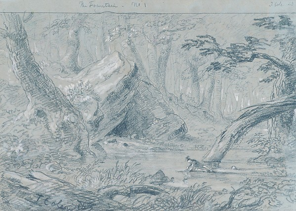 The Fountain, No. 1: The Wounded Indian Slaking His Death Thirst, Thomas Cole (American, Lancashire 1801–1848 Catskill, New York), Graphite and white gouache on green wove paper, American