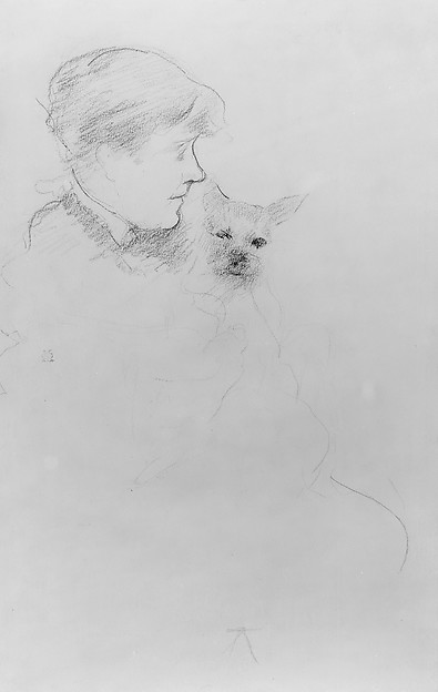 Woman with Dog, Mary Cassatt (American, Pittsburgh, Pennsylvania 1844–1926 Le Mesnil-Théribus, Oise), Black Conté crayon on off-white wove paper, American