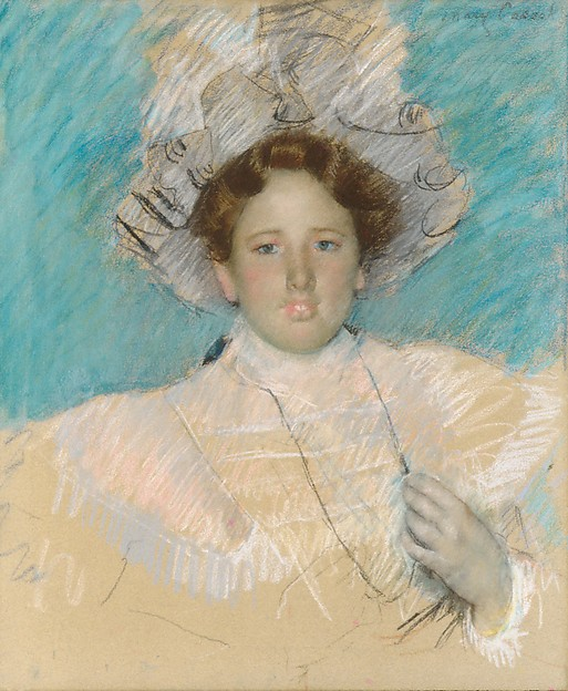 Adaline Havemeyer in a White Hat, Mary Cassatt (American, Pittsburgh, Pennsylvania 1844–1926 Le Mesnil-Théribus, Oise), Pastel on wove paper, mounted on canvas, American