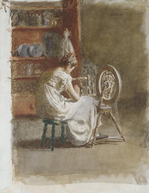 Homespun, Thomas Eakins (American, Philadelphia, Pennsylvania 1844–1916 Philadelphia, Pennsylvania), Watercolor on off-white wove paper, American