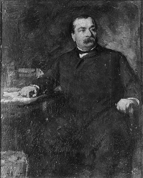 Grover Cleveland, Eastman Johnson (American, Lovell, Maine 1824–1906 New York), Oil on cardboard, American