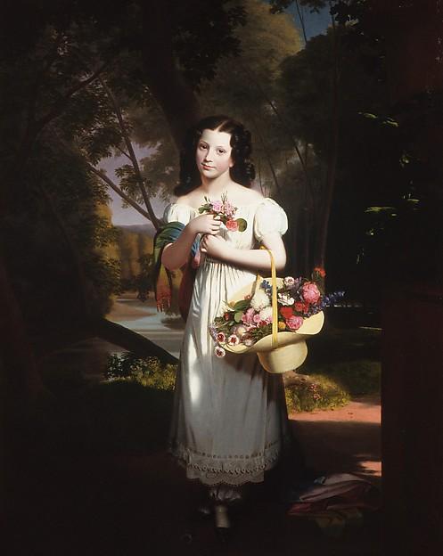 Little Girl with Flowers (Amelia Palmer), Charles Cromwell Ingham (American (born Ireland), Dublin 1786–1863 New York), Oil on canvas, American