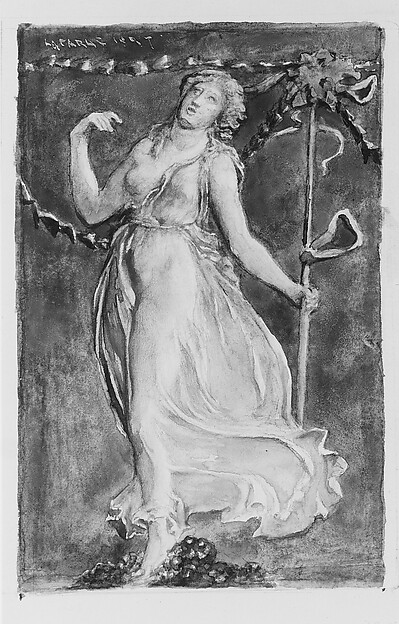 A Bacchante, John La Farge (American, New York 1835–1910 Providence, Rhode Island), Gouache, watercolor, and graphite on off-white wove paper, American