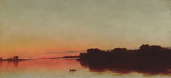 Twilight on the Sound, Darien, Connecticut, John Frederick Kensett (American, Cheshire, Connecticut 1816–1872 New York), Oil on canvas, American