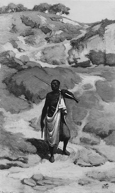 The African Sentinel, Elihu Vedder (American, New York 1836–1923 Rome), Oil on canvas, American