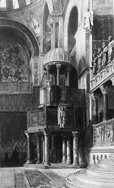 Pulpit in Saint Mark's, Venice, George Henry Yewell (1830–1923), Oil on canvas, American