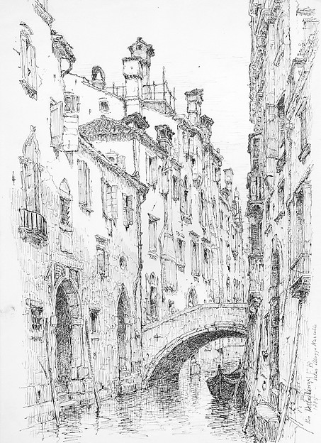 Rio della Verona, Venice, Andrew Fisher Bunner (1841–1897), Black ink and graphite traces on off-white wove paper, American