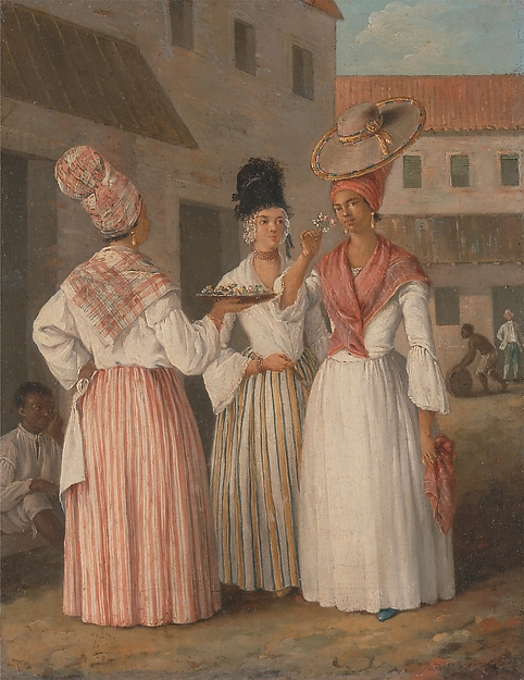 A West Indian Flower Girl and Two other Free Women of Color, Agostino Brunias (1728–1796), oil on canvas, West Indies, for the British market