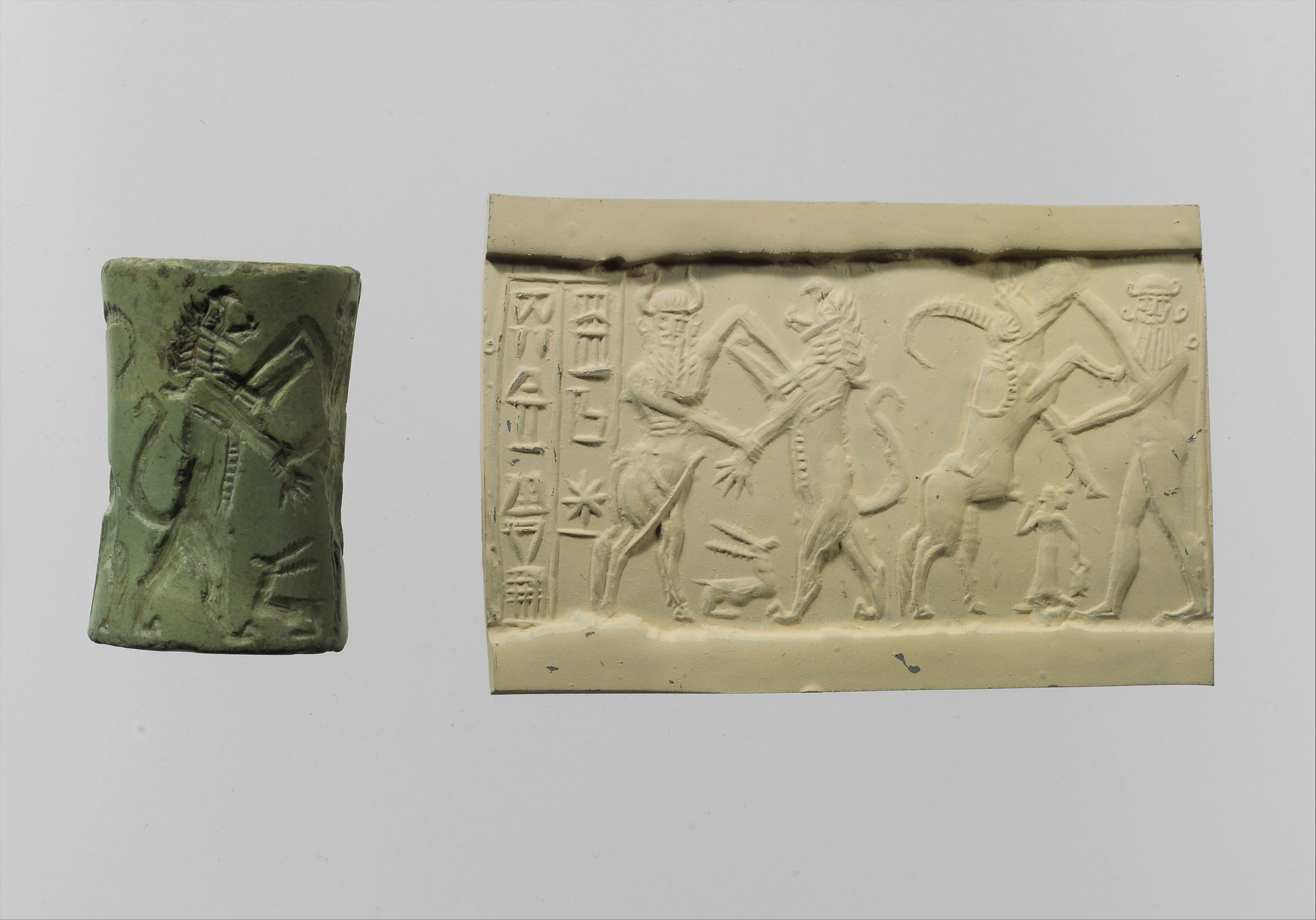Heros Nude Images cylinder seal and modern impression: bull-man combatting