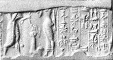 Cylinder seal and modern impression: confronted king and goddess (?), five rows of inscription, Hematite