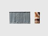 Cylinder seal and modern impression: suppliant goddesses, Agate, Babylonian or Kassite
