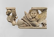 Openwork furniture plaque with two sphinxes, Ivory, gold foil, Assyrian