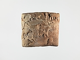 Proto-Cuneiform tablet with seal impressions: administrative account of barley distribution with cylinder seal impression of a male figure, hunting dogs, and boars, Clay, Sumerian