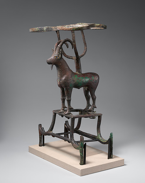 Vessel stand with ibex support, Copper alloy, inlaid with shell and lapis lazuli, Sumerian