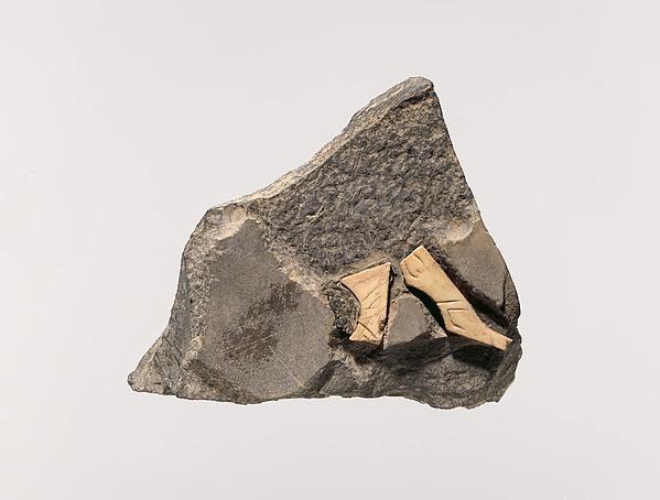 Plaque with animal legs, Shell, slate, bitumen, Sumerian