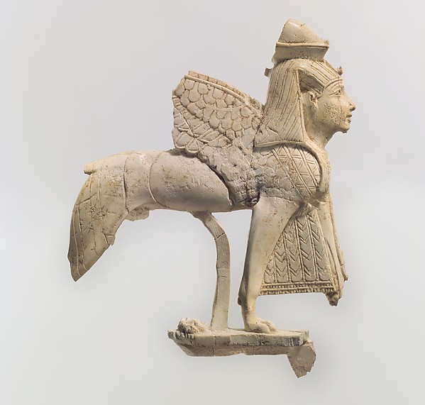 Openwork furniture plaque with a striding sphinx, Ivory, Assyrian