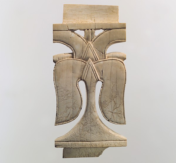 Openwork furniture plaque with leaves, Ivory, Assyrian
