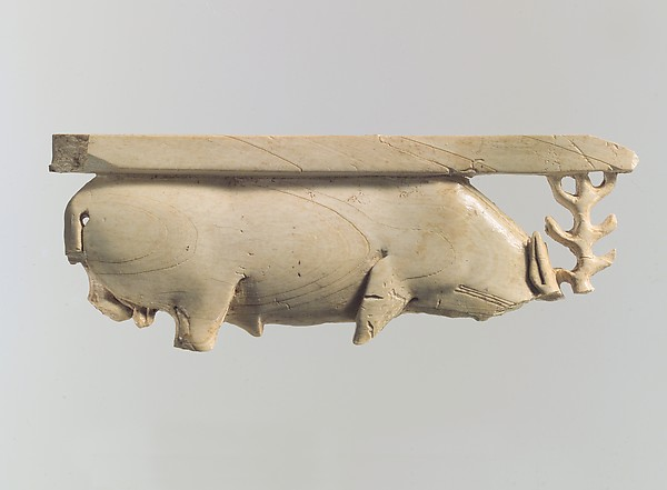 Openwork furniture plaque with a grazing stag, Ivory, Assyrian