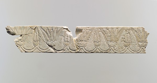 Incised Furniture Plaque With A Frieze Of Lotus Blossoms And Buds, Ivory,  Paint Traces