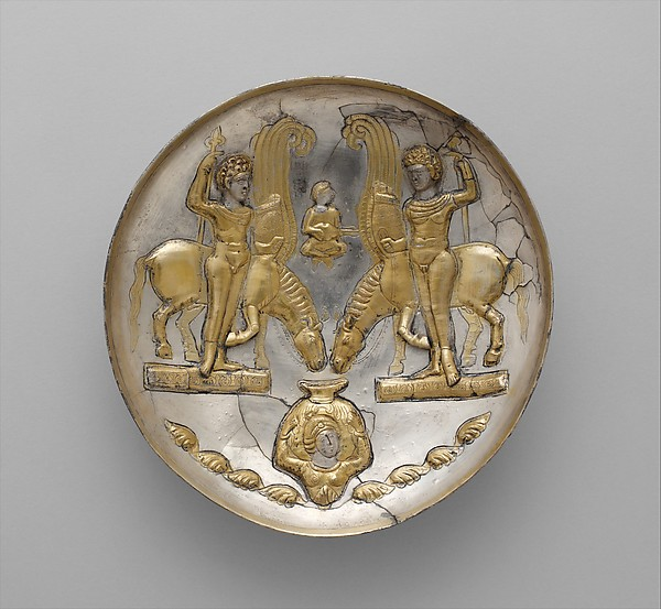 Plate with youths and winged horses, Silver, mercury gilding, Sasanian