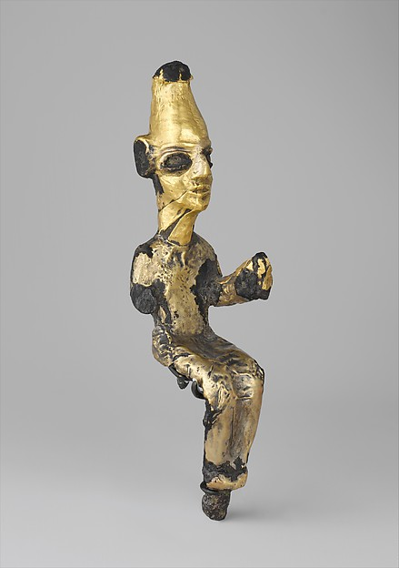 Enthroned deity, Bronze, gold foil, Canaanite