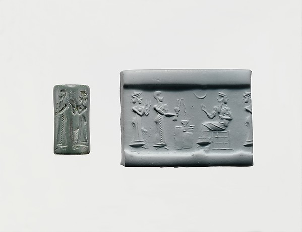 Cylinder seal and modern impression: worshiper pouring a libation before a seated god, Stone, Neo-Sumerian