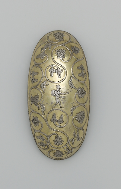 Oval bowl with grapevine scrolls inhabited by birds and animals, Silver, mercury gilding, Sasanian