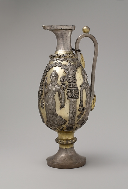 Ewer with dancing females within arcades, Silver, mercury gilding, Sasanian