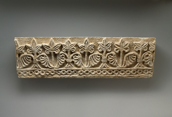Wall decoration with vegetal and geometric design, Stucco, Sasanian