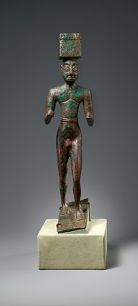 Man carrying a box, possibly for offerings, Copper alloy, Sumerian