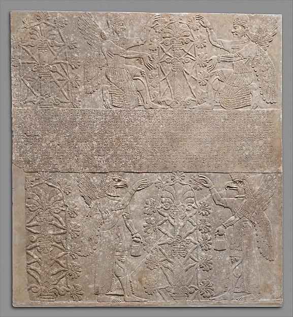 Relief panel, Gypsum alabaster, Assyrian