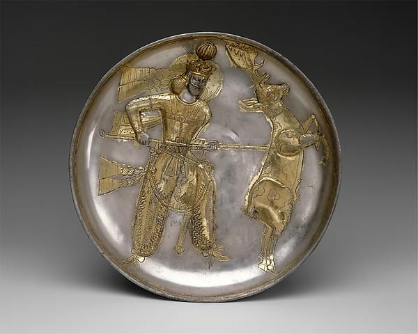Plate: the king Yazdgard I, slaying a stag, Silver, mercury gilding, Sasanian